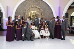 Bridal Party Photos in front of the water fountain in the Orangery! The Water fixture is the perfect place to add a customized Gobo. Photo by Jessica Crawford