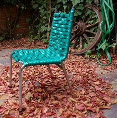 repurposed garden hose, lawn chair  #recycle #furniture #aboutthegarden