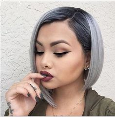 Women's Ombre Black Gray Straight Short Bob Synthetic Hair Cosplay Party Wig+Cap #ebay #Fashion