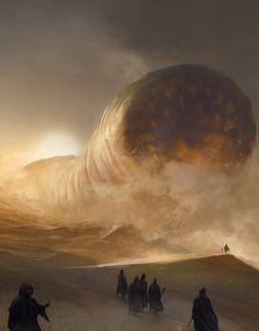"""Dune"" by Frank Herbert - by Marc Simonetti ""Cover art done for Aleph Brazil"" Sci Fi Fantasy, Dark Fantasy, Fantasy Books, Dune Frank Herbert, Dune Art, Denis Villeneuve, Matte Painting, Science Fiction Art, Fantasy Landscape"