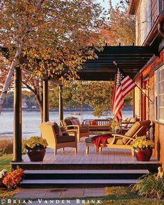 A beautiful autumn afternoon.This is the PERFECT back porch! I want one so bad.