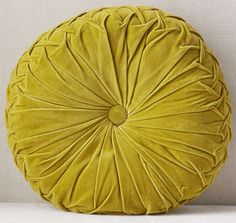 Chartreuse green, round, pintucked, velvet accent pillow