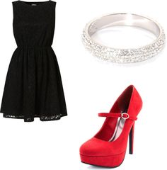 """""""Wedding Guest"""" love the little black dress with a splash of color in the shoes!"""