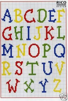 Punto de Cruz GRATIS: Abecedario Infantil de Colores, alphabet charted for needlepoint or cross stitch