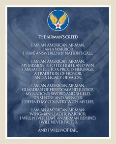 Airman's Creed #5. Poster created by SrA Gary Stevens. The poster is 8x10 inches @ 300ppi and is available as a PDF file on request.
