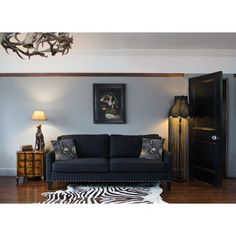 Bigwig Studded Black Sofa by The French Bedroom Company