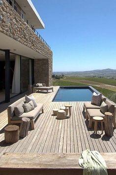 Why Teak Outdoor Garden Furniture? Hillside Villas, Hillside House, Terrace Design, Villa Design, Design Hotel, Design Design, Design Ideas, Piscine Diy, Small Backyard Pools