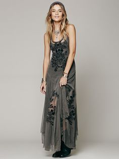 Love the lace overlay. Grey Storm Free People Darya Dotted Mesh Black Floral Embroidered Uneven Hem Maxi