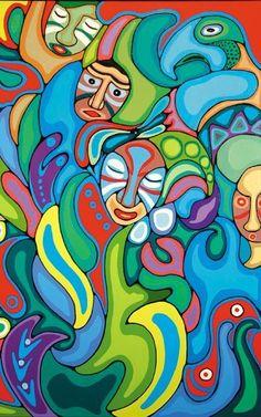 Pow Wow at Wikwemikong by Daphne Odjig Native Canadian Artist Native American Artwork, Native American Artists, American Indian Art, Canadian Artists, Daphne Odjig, Claudia Tremblay, Native Canadian, Art Brut, Aboriginal Art