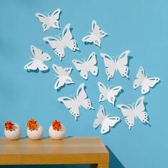 Butterfly Wall Art 3D White Butterflies Set of 12 PopArt Made in Canada. $20.00 via Etsy. & White Butterfly Wall Decor 3D....on pink wall :) | Baby Girl ...