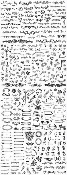 Drawing Doodle Easy Hundreds of fancy and easy bullet journal decorations and planner doodles, DIY drawing ideas, notebook sketching Icon Design, Bullet Journal Inspiration, How To Draw Hands, Monogram, Clip Art, Notes, Hand Drawn, Tattoo Designs, Tattoo Ideas