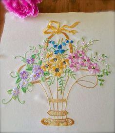 Cesta de flores Rosa Vintage de algodón Panel de