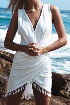 Sexy V-Neck Sleeveless Fringe White Dress For Women Club Dresses | RoseGal.com Mobile