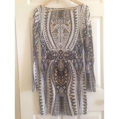 Moda International Long Sleeve Black, White, Gold Print Mini Dress  #ModaInternational #Bodycon