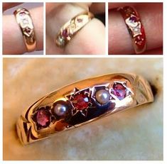 Kate's garnet and pearl ring. It has been in her possession since at least 2005 and Kate has been photographed wearing it on multiple occasions both pre and post wedding. Diana's Jewels correctly noted garnet is Kate's birthstone while pearl is William's. Duchess of Cambridge's rings   HRH The Duchess of Cambridge