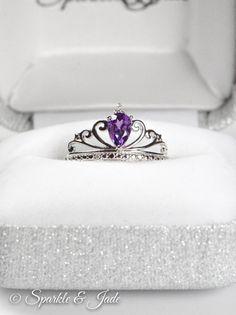 Teardrop Pear Genuine Amethyst and Diamond Sterling Silver Princess Crown Tiara Ring