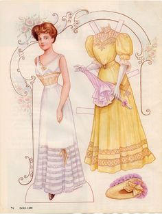 "CARETHA A 1907 BRIDE PAPER DOLL This was in the doll magazine ""Doll Life"" June 1992 and the artist is Brenda Sneathen."
