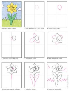 Draw a Daffodil - Art Projects for Kids