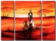 Resultado de imagen de cuadros de pintura oleo triptico Tribal African, African Women, Black Women Art, Black Art, African Artwork, Africa Art, Nature Tree, Paintings I Love, Acrylic Art