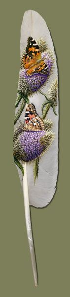 feather art by Ian Davie - seriously, the dude paints on feathers. Feather Painting, Feather Art, Woman Painting, Street Art, Hand Art, Leaf Art, Native American Art, Artist Art, Art Forms