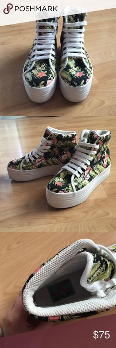 HP! 9/9🏆Jeffrey Campbell Homg sneakers Worn once! JC Play floral/tropical print. No wear except very minor scuffs that could easily be wiped off the white platform. Were extremely rare and hard to find when I first purchased them. 2 inch platform. Price is firm. ❌ no trades ❌ Jeffrey Campbell Shoes Sneakers