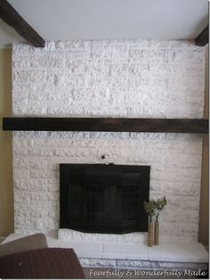 How to update an old brick fireplace with a slip covered mantel Home Diy, Painted Mantle, Diy Fireplace, Remodel, Brick Fireplace Makeover, Build A Fireplace, Fireplace Decor, Brick Fireplace, Fireplace Wall