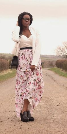 Joanne wearing our  floral bustier dress http://www.rarelondon.com/white-and-floral-bustier-maxi-dress.html