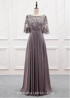 Buy discount Wonderful Tulle & Chiffon Bateau Neckline A-line Mother Of The Bride Dress With Sequin Lace Appliques at Magbridal.com