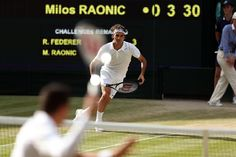 Roger Federer charges in on Centre Court - Scott Heavey/AELTC
