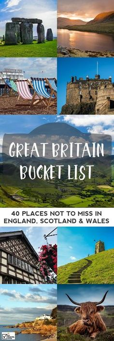 40 amazing sights in Great Britain (England, Scotland and Wales) to add to your UK bucket list for your next travels!  Handpicked by The Travel Tester:   