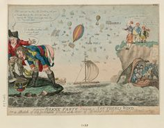 Bonne Farte raising a Southerly Wind, Isaac Cruikshank, 1798, Napoleon, nether regions strategically aimed at the White Cliffs of Dover, is being fed dried peas by his chief of staff, General Berthier, to create enough wind to launch a French invasion of balloons, cannons, guillotines and kitchen sinks across the Channel.