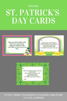 Bring some luck and make St. Patrick's Day special for your students with these St.These are editable cards in 3 different designs (borders) and 6 different messages. A4 Paper, Paper Size, St Patricks Day Cards, Lucky To Have You, All Schools, My Teacher, Helping Others, Note Cards, Students