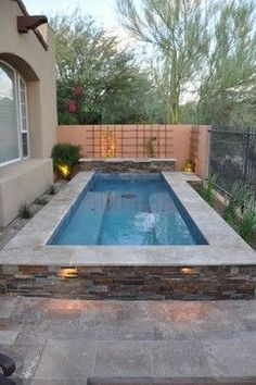 If you're prepared to get a pool, consider the advantages of one that's small-scale yet upscale. A little pool doesn't need to be any less refreshing. A little swimming pool is a … Pools For Small Yards, Small Swimming Pools, Swimming Pools Backyard, Swimming Pool Designs, Pool Landscaping, Pool Decks, Lap Pools, Indoor Pools, Pool Fence
