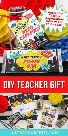 Looking for an adorable teacher gift idea for teacher appreciation week or end of the year? This superhero printable gift tag and candy bar wrapper are available in my Just Add Confetti Etsy shop. Pair the printables with coffee or soda and a Hershey's chocolate bar. The wrapper is sized to fit a Hershey bar perfectly! Such a fun teacher gift in minutes! What an easy DIY teacher gift! Be sure to head to justaddconfetti.com for even more simple teacher gift ideas.
