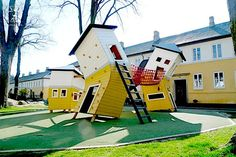 We'd like to be 7 again to play in this awesome playground! Brumleby Playground - Copenhagen: Three warped houses connected by balancing bridges. Cool Playgrounds, Crooked House, Outdoor Play, Outdoor Decor, Playground Design, Park Playground, Design Moderne, Play Houses, Around The Worlds