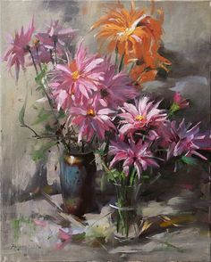 Fongwei Liu  flower Still life  oil on canvas  16'' x 20''  (40 x 51 cm)  $1600  For more information about this artist visit  www.silvanagallery.com