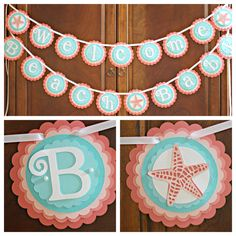 Girl Baby Shower / Welcome Beach Baby / Star Fish / Ocean / Coral and Aqua.  Fully Assembled and customizable. by CharmingTouchParties on Etsy