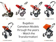 Bugaboo Cameleon Models through the years - 1994 - Present