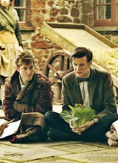 Only the Doctor would be sitting on the side walk with lettuce without anyone questioning it.