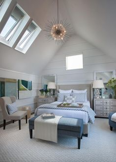 Welcome to the master suite! Sloping 10-foot ceilings give the master bedroom a grand, open feel. Soft blues, grays and white come together in the linens and accessories --> http://www.hgtv.com/design/hgtv-smart-home/2015/hgtv-smart-home-2015-videos-videos#video-22?soc=smartpin