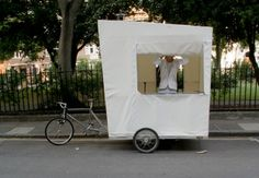 lehman b supertramp - The Lehman B Supertramp is a bike-as-camper design for mobile living. The concept looks like a box on a bike, with a canvas cloth tent and sturdy f. Mobiles, Bike Shelter, Food Cart Design, Mobile Catering, Mobile Living, Cargo Bike, Trike Bicycle, Sustainable Design, Outdoor Life