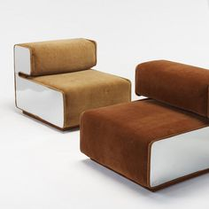 Pierre Cardin; Mirrored Steel Lounge Chairs, c1970.