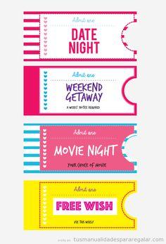 820237d77 Plantilla imprimir gratis vales y tarjetas de San Valentin Tickets For You