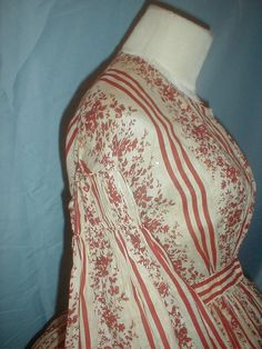 Antique 1860 Dress Dark Red and White Cotton Print | Clothing, Shoes & Accessories, Vintage, Women's Vintage Clothing | eBay!
