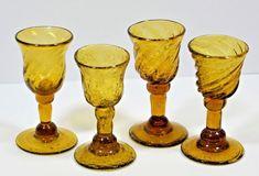 Set of 4 Hand Blown Amber Liquer Shot Pedestal Footed Glasses