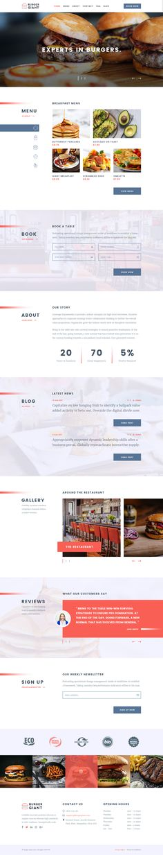 Burger Giant - Restaurant and Cafe PSD Template #elegant #food #light • Download ➝ https://themeforest.net/item/burger-giant-restaurant-and-cafe-psd-template/20622677?ref=pxcr