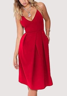 Red Pleated Pockets Cross Back Backless Sleeveless Midi Dress 6f86c23a0