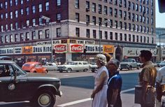 Hollywood Boulevard and Vine street, Los Angeles, 1960