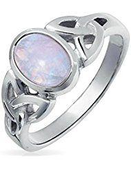 Bling Jewelry 925 Sterling Silver Celtic Triquetra noeud Moonstone simulé Ring Gravure gratuite