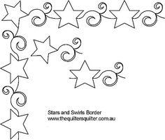 Border Quilting Designs   ... Quilting Patterns :: Border & Sashings :: Star and swirl border
